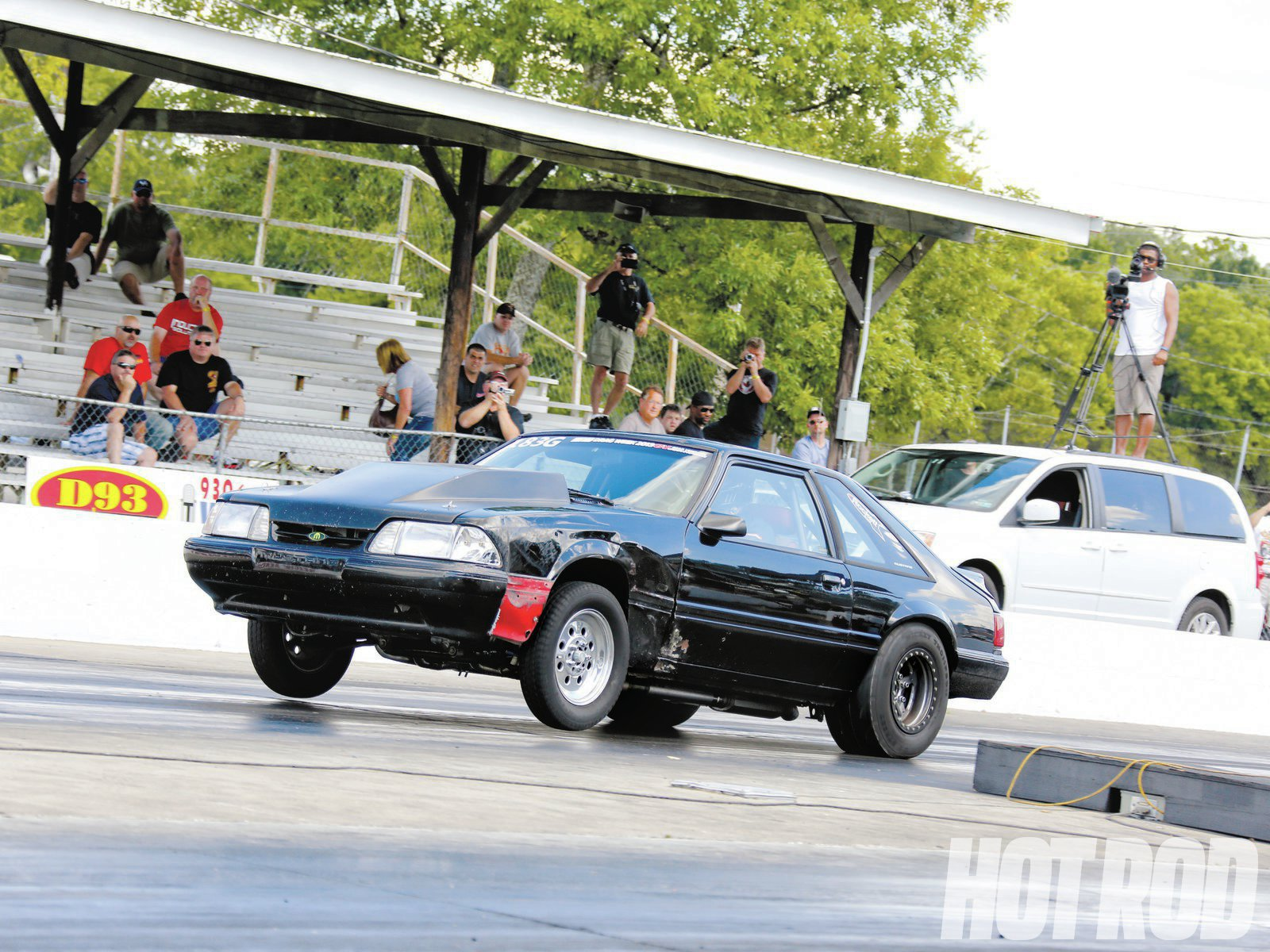 Dusty got some help along the way from fellow Drag Week™ competitor Rich Pedraza, as well as Mike Swan from Mooresville, Indiana, who helped secure a new front wheel. The damage from his shredded tire is visible on the driver-side fender and door.