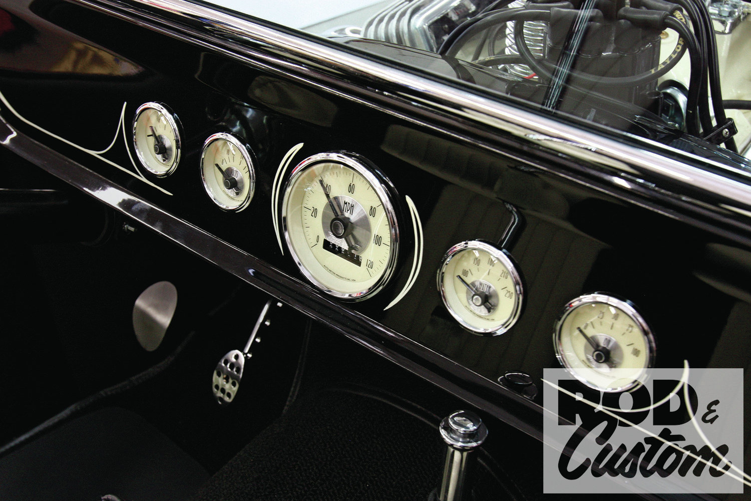"""Jumping ahead slightly, the Auto Meter Prestige Antique Ivory gauges perfectly suit the style and color scheme of the Tribute T. They also feature plastic """"cups"""" on the rear rather than metal C-brackets, and hand-tightening knurled nuts, making installation a breeze."""