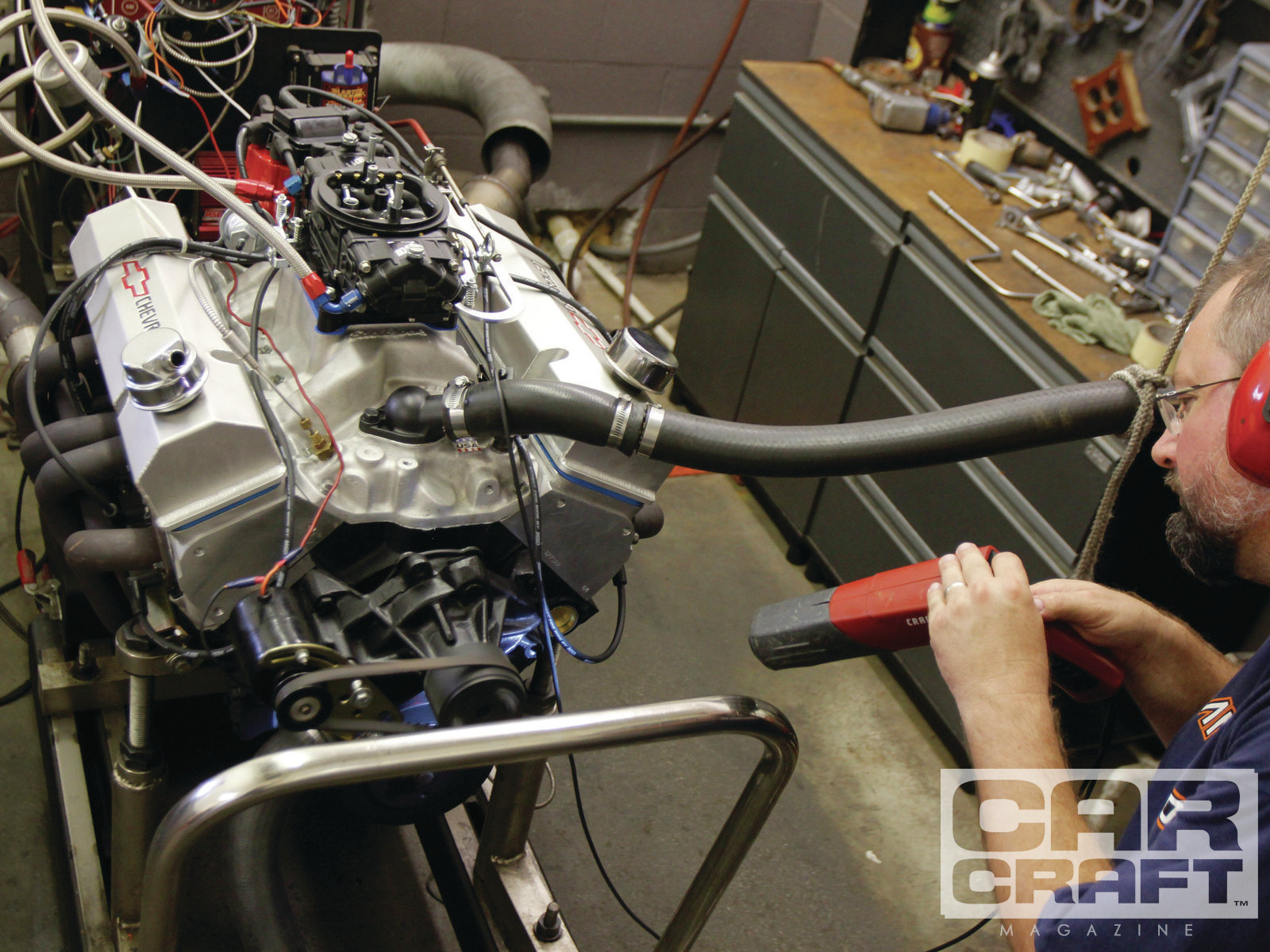 15. Now with more cubic inches, we put the Reborn 383 back on the dyno, testing it with a Quick Fuel 750 carburetor, a 1-inch open spacer, MSD's Ready-to-Run HEI distributor, and 15⁄8-inch headers. The engine ran best with 34 degrees of total timing.