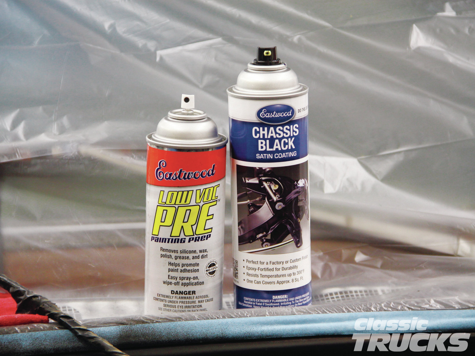 I like to wipe the surface before any paint is applied to the engine bay. Using the Eastwood Low VOC Pre Painting Prep spray to remove any silicone, wax, polish, grease, and dirt. Simply spray it on the surface and wipe dry with a clean rag.
