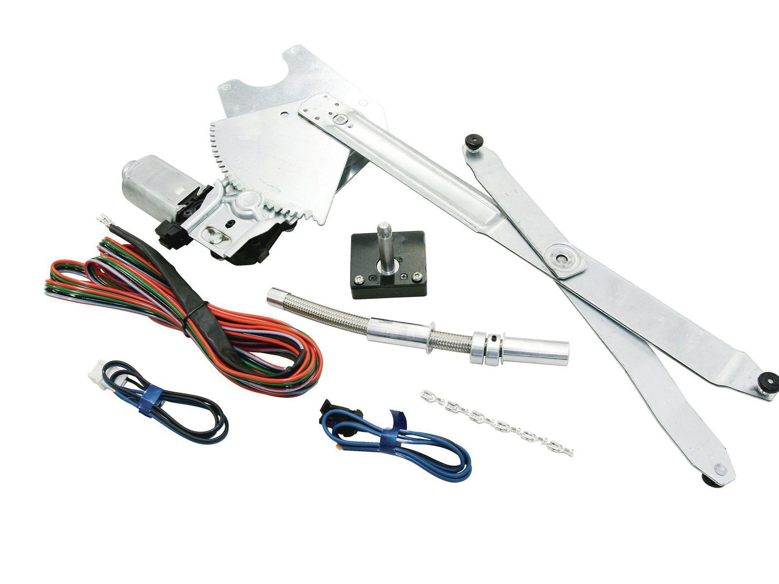 1. Here's the entire Electric-Life kit for one window. It consists of their proprietary regulator/motor mechanism (part number GM49-K), billet wire loom, power crank switch (part number 45820), and the necessary wiring.