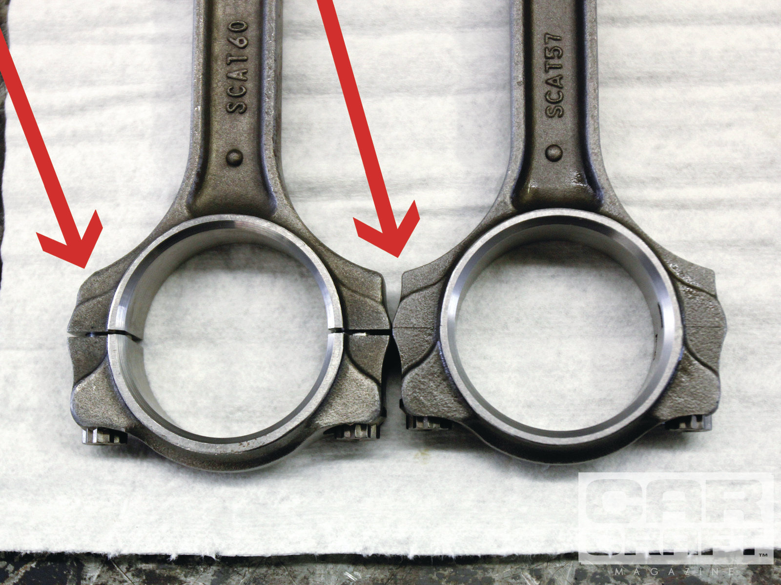 7. Our connecting rods did need to be ground slightly to clear the camshaft. See the differences between the rod on the left compared to the same area on the right.