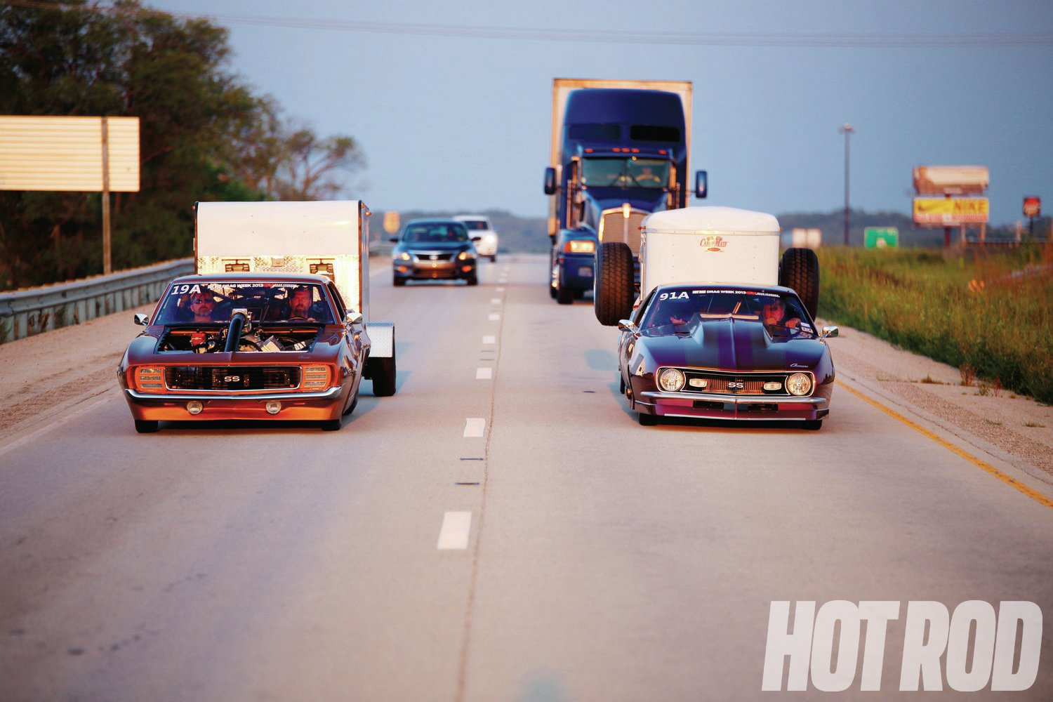 If two 6-second cars are towing trailers down the highway, it must be HOT ROD Drag Week™. Photo: Kevin Cox/1320Video.com