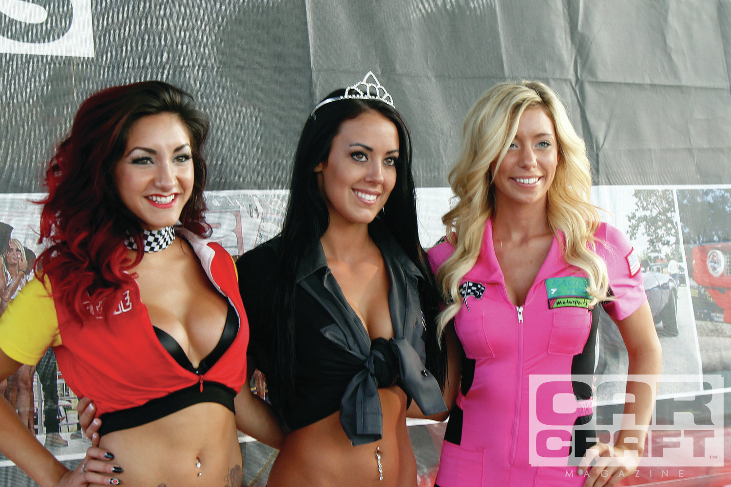 "Extra hours on Friday night also afforded time for a Miss Car Craft ""Racewear"" competition. Think of it as a prelude to the bikini contest on Sunday. Out of the 12 lovely ladies who competed, the top three were (left to right) Charmaine Villalon, Andrea Washenberger, and Ashley Lammela."