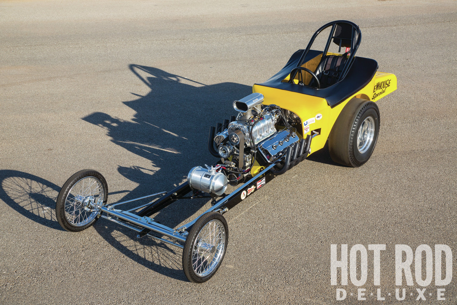 More altered than dragster, the cloned T duplicates the original's unboxed frame, square steering link, front leaf spring, 5-foot-wide chrome-moly axle with early Ford spindles, round steering wheel, and tonneau cover.