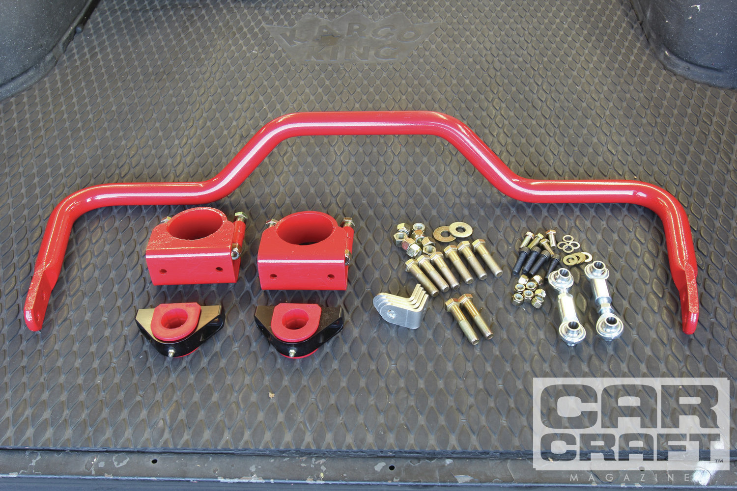 The Global West tubular front lower control arms eliminate the front sway-bar mount, so to control body twist we added this BMR rear antiroll bar that clamps to the rear axle. The bar allows tuning with two different front connections, and it's possible to preload the bar with the end links. A minor amount of preload can counteract body twist.