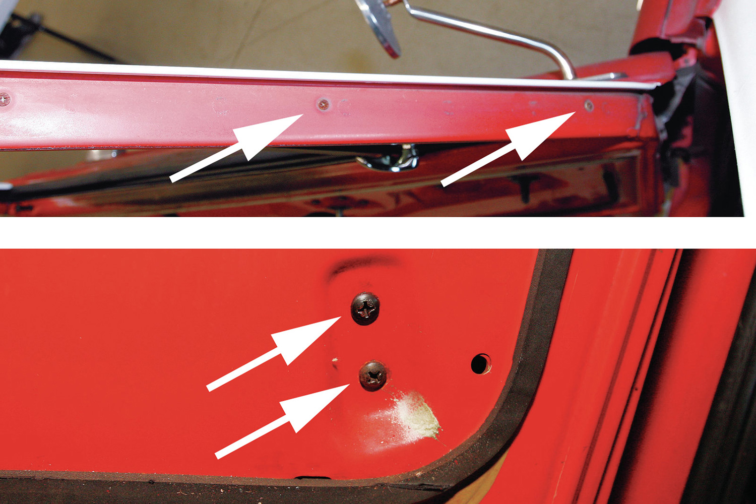 9-10. Next, the five screws that retain the vent window assembly (arrows) are removed…