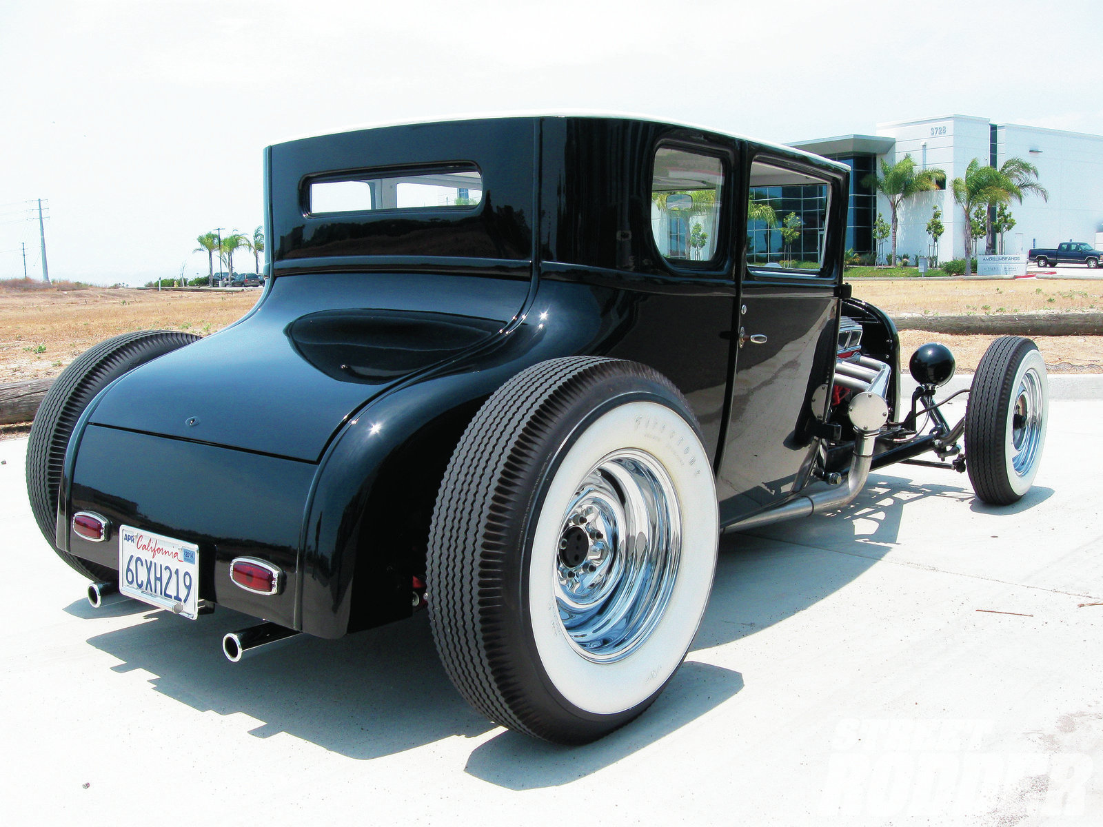 Jay's T is chopped 8 inches and channeled 4 inches over a Model A chassis he modified.