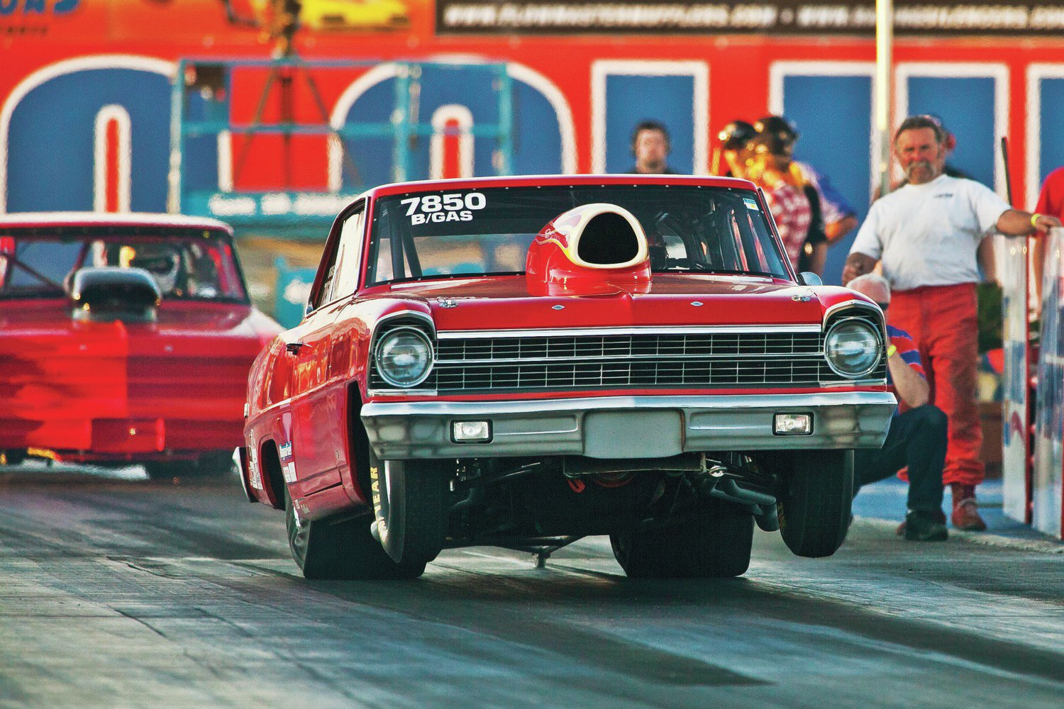 Besides fuelers and floppers, 500 vintage race cars attacked the Famoso grounds. Among the wheels-up door-slammers was Jim Stewart's '67 Nova.