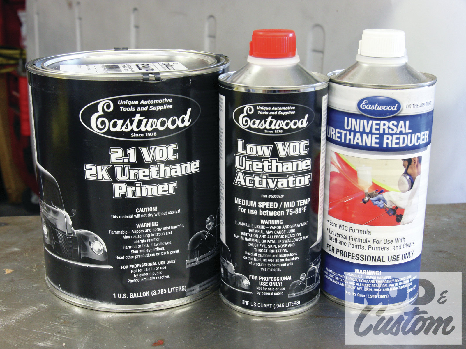 9. With the filler spots sanded with 80-grit then 120-grit, we used Eastwood's urethane primer with low-VOC activator to prime the body and pickup bed.