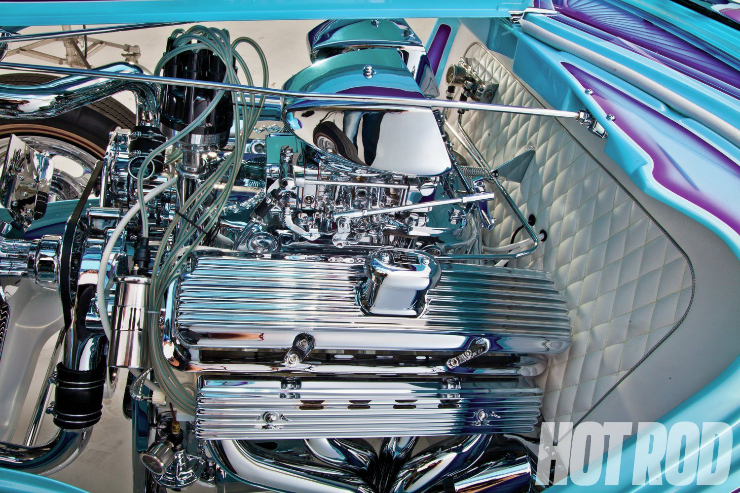 The only thing not chromed on the engine is the block itself. Besides the cool vintage Moon valve covers, matching spark-plug wire covers (a Buick nail head aftermarket item) help to visually clean up the Ford wedge heads. The Decca clear plug wires are a show car item from the late '60s, and are fairly hard to find.