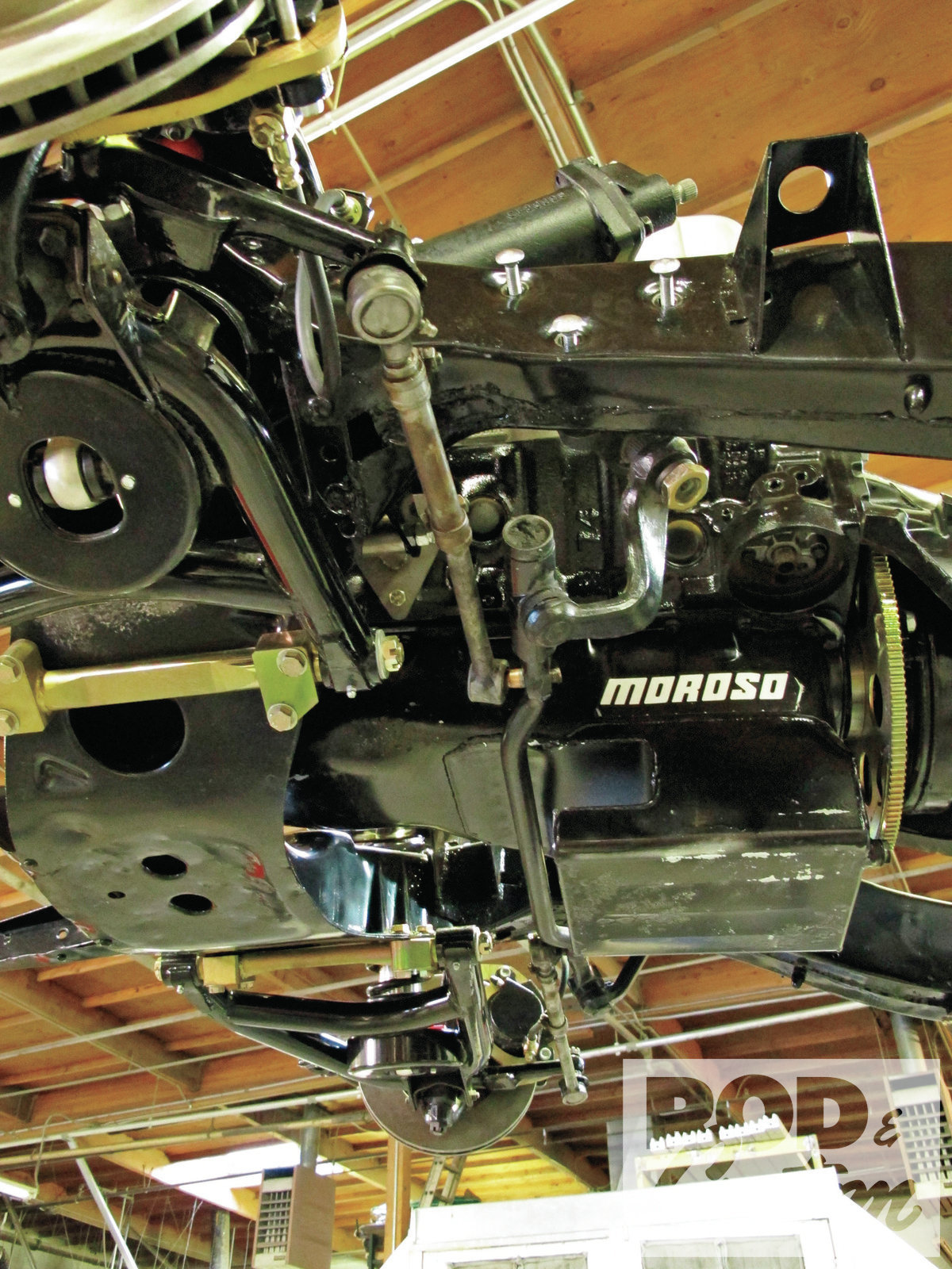 3. Note the oil pan on the big-block was fabricated to clear the centerlink of the original steering. While the Unisteer kit is designed for Tri-Fives with small-blocks, it will fit most applications that have enough clearance for the original centerlink.