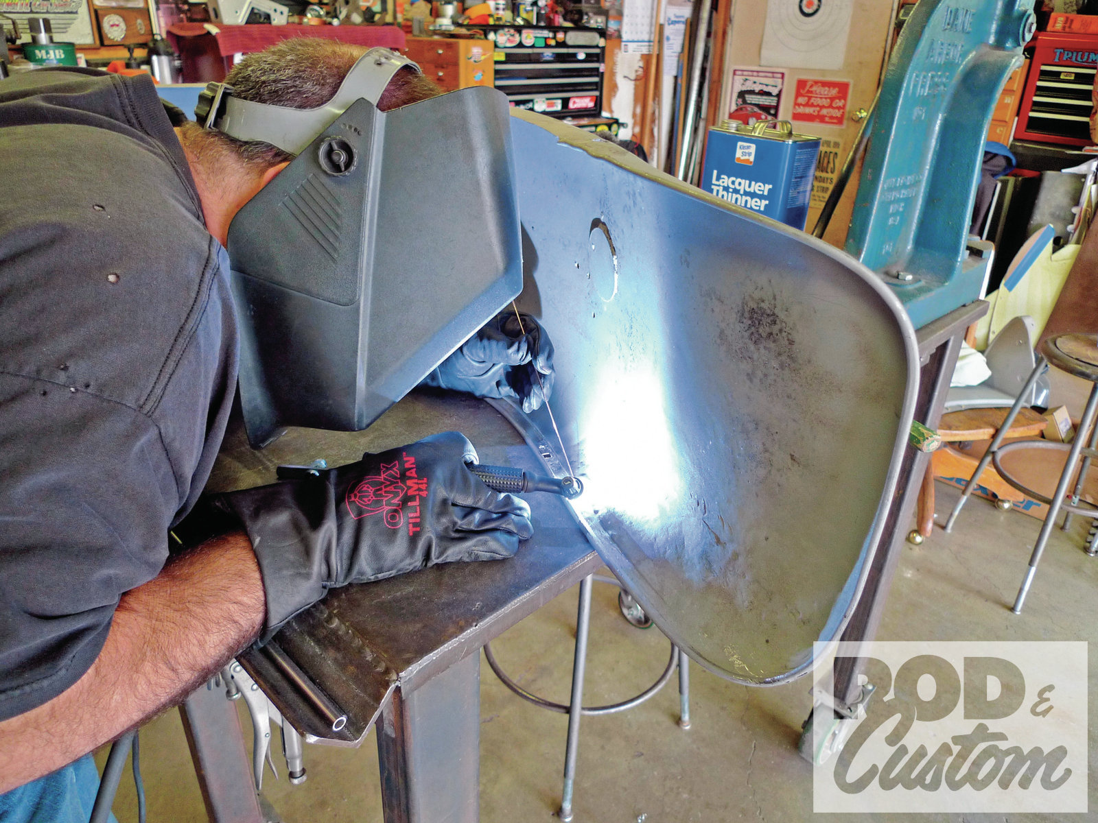 12. With the necessary preparations made, Strube gets to welding once again and the previously dislodged reinforcement becomes one with the fender once more.