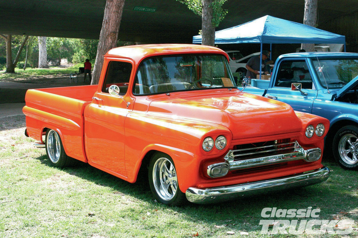 Craig Legacy's 1959 Apache's striking color and perfect stance made it quite a popular truck with the fans at the show.