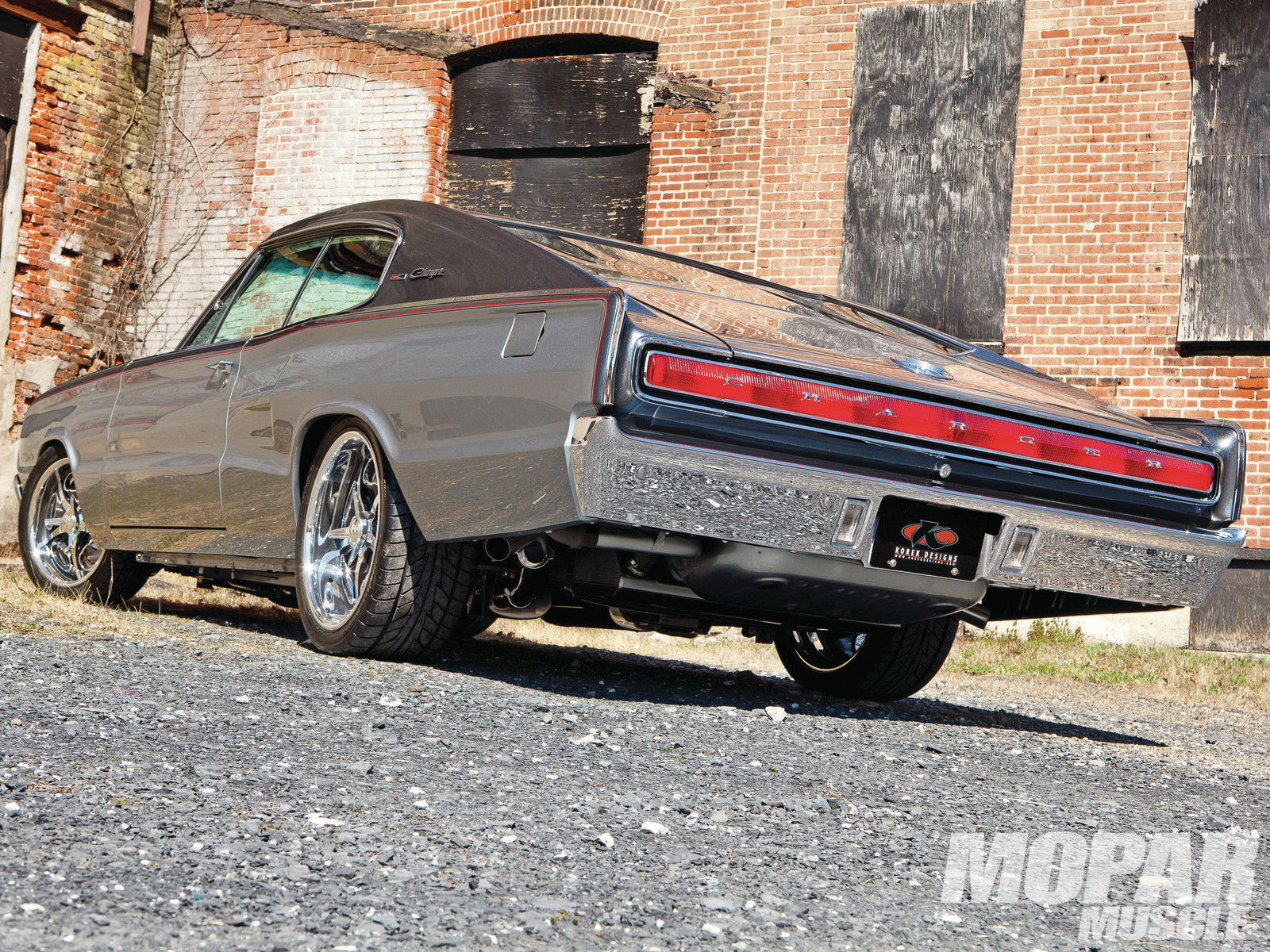 Underneath, Reilly Motorsports' high-tech suspension joins with a big tti/Magnaflow exhaust system and wide-tread Nitto tires for a big upgrade from the stock '66 chassis.