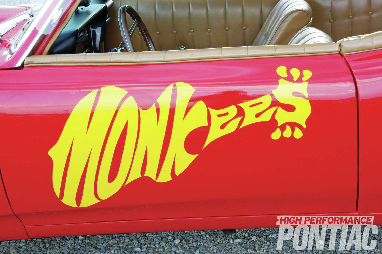 The Monkees' logo was reproduced when the car was repainted in the early '90s.