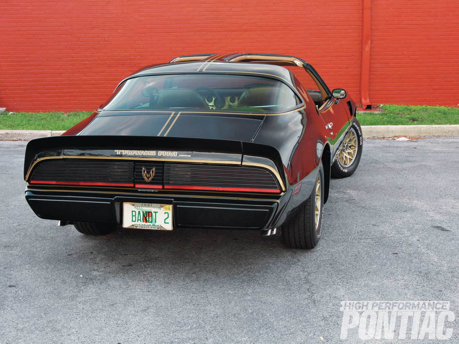 The Firebird graphic on the fuel-filler door, which identifies '81 model-year Birds, was replaced on this T/A with a Third-Gen version. Factory blacked-out taillamps give late Second-Gen Formulas and Trans Ams a custom look.