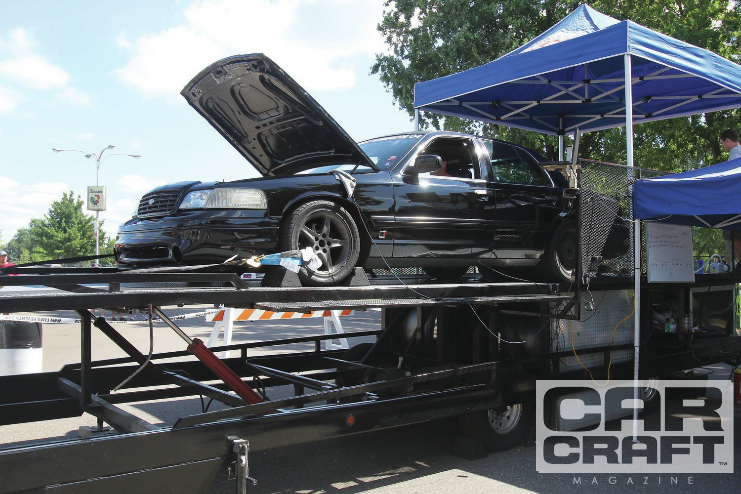 Mike Callahan came back again this year with his Crown Vic to show that even big cars can be competitive on a tight autocross. On the chassis dyno, his 4.6L Ford made 276 rwhp.
