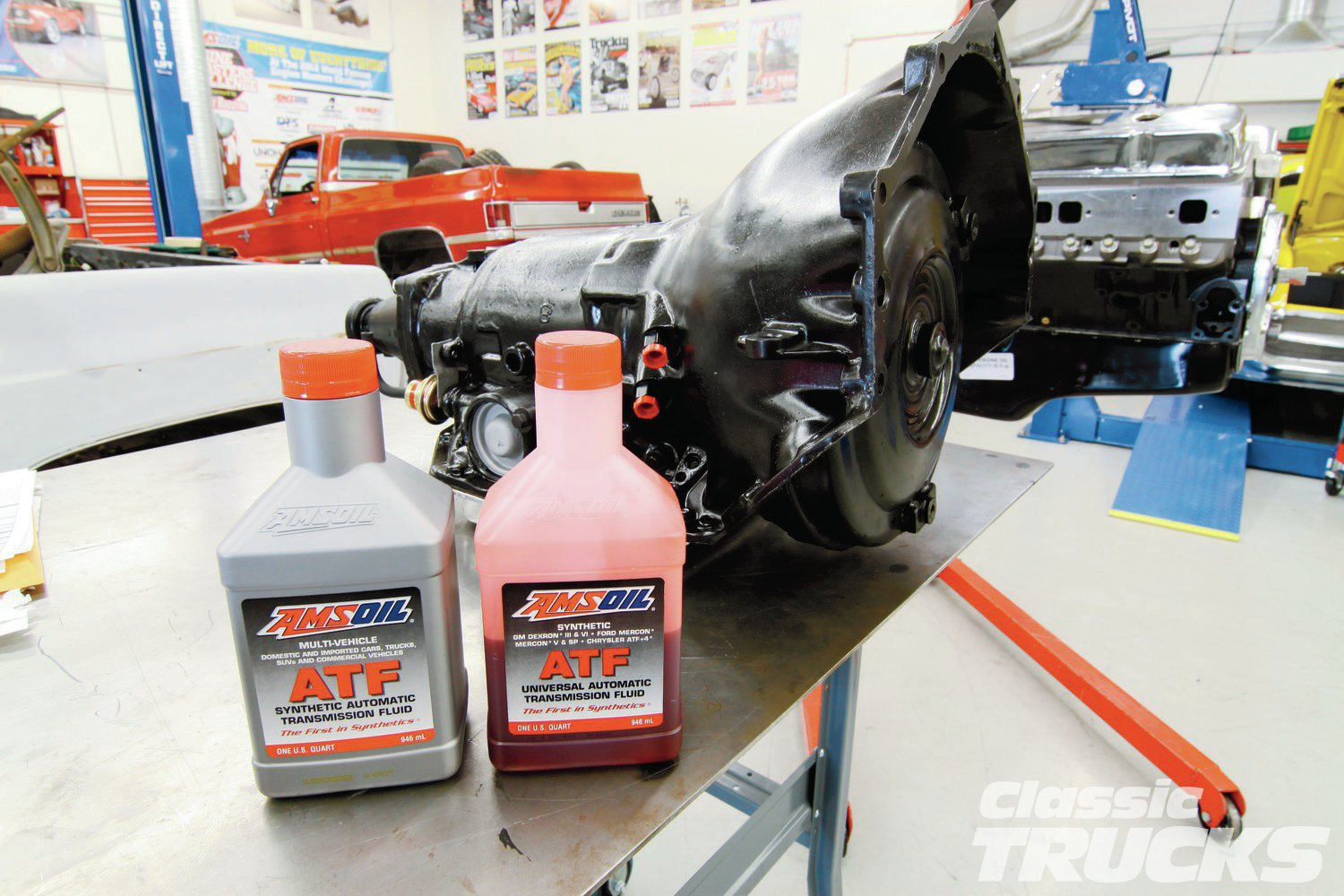 5. AMSOIL makes a really great ATF for our TH350. After I measure the torque converter I like to remove it and add a quart of ATF to prime the torque converter.