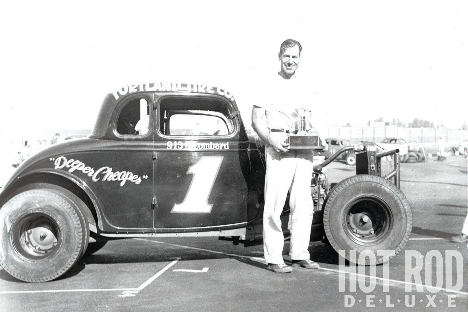 1952: Clarence Smith, who had fielded some of the Northwest's hottest midgets in the '40s and '50s, gets his chance to drive. Smitty was Jack's mentor. Note the dual tires front and rear on the passenger side. The coupe was powered by a brand-new 317-inch Lincoln overhead with two backdraft two-barrel carbs. Smitty was the Oregon hardtop racing champ that year. He was quite the innovator.
