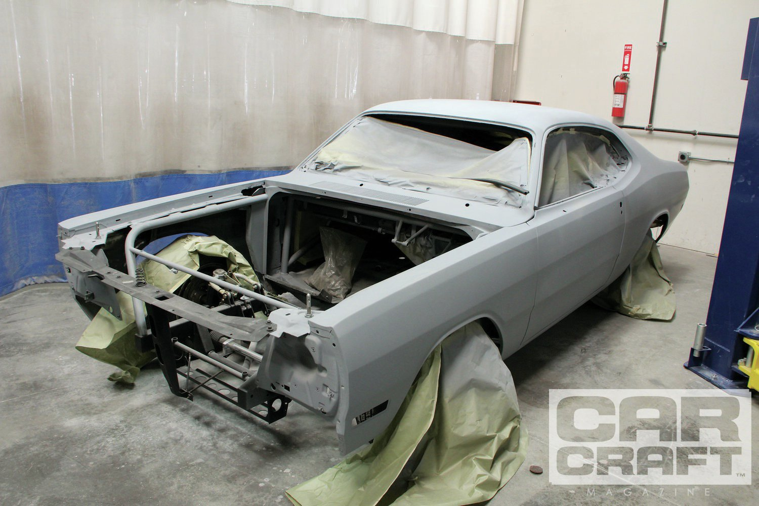 After disassembling the car completely, we sent the car to Elite Auto Restorations in Paramount, California, for body and paint. By the time you read this, the car will be painted '68 B5 Blue Fire with graphics by The Harpoon and paint by Danny at Elite. And it still won't be done…