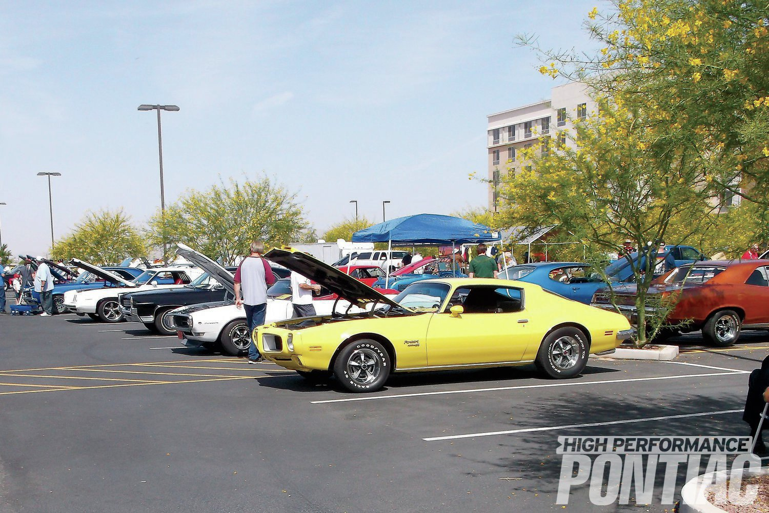 A yellow '70 Firebird Formula 400 leads off this row of event show cars. It may look familiar—it was our cover car back in the Feb. '08 issue.