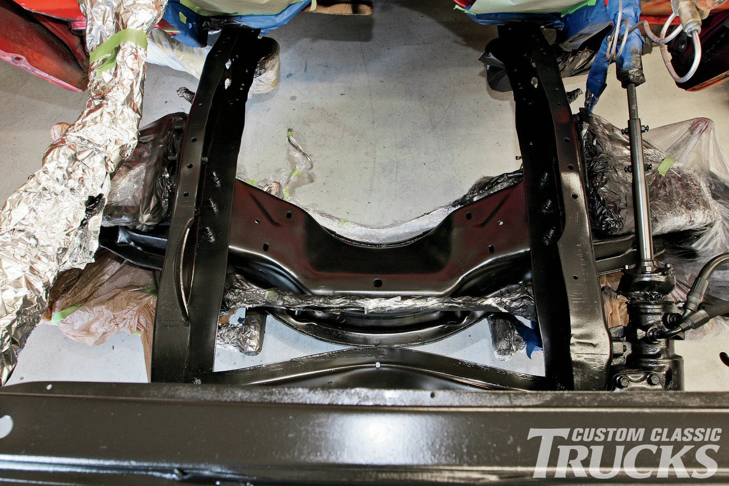 6. Here's what the chassis looks like just after applying the second coat of Chassis Black. Note the slight sheen and even appearance.