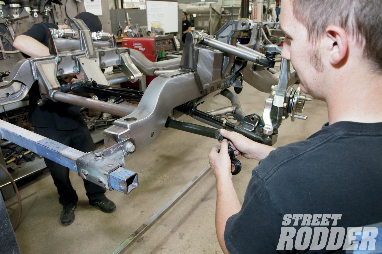 7. A splined 1.25-inch antiroll bar ensures our Chevy will stay flat in the corners. It's housed in a tube that is built in the frame and rides on Delrin bushings.