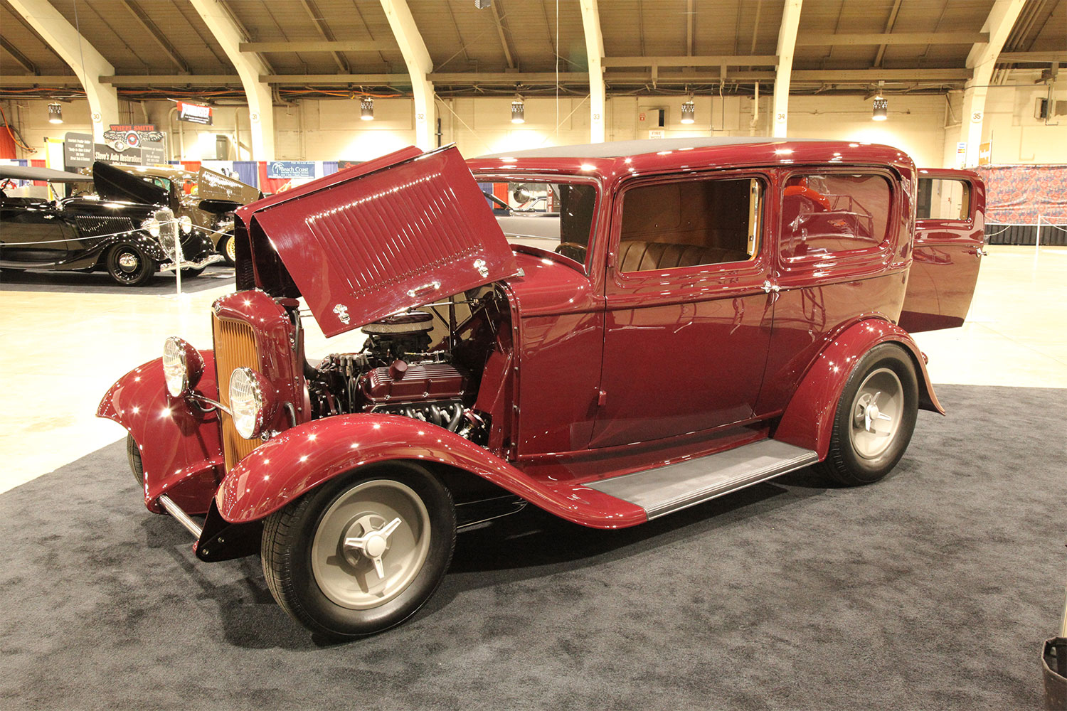 George Poteet's '32 Ford sedan delivery was built at Kemp's Rod & Restoration with an eye toward resto rod (with an added touch of performance). The body started as a sedan, but Kemp's converts them to the sedan delivery design with the addition of a new rear quarter and door mechanism. A lot of work to make it look stock!