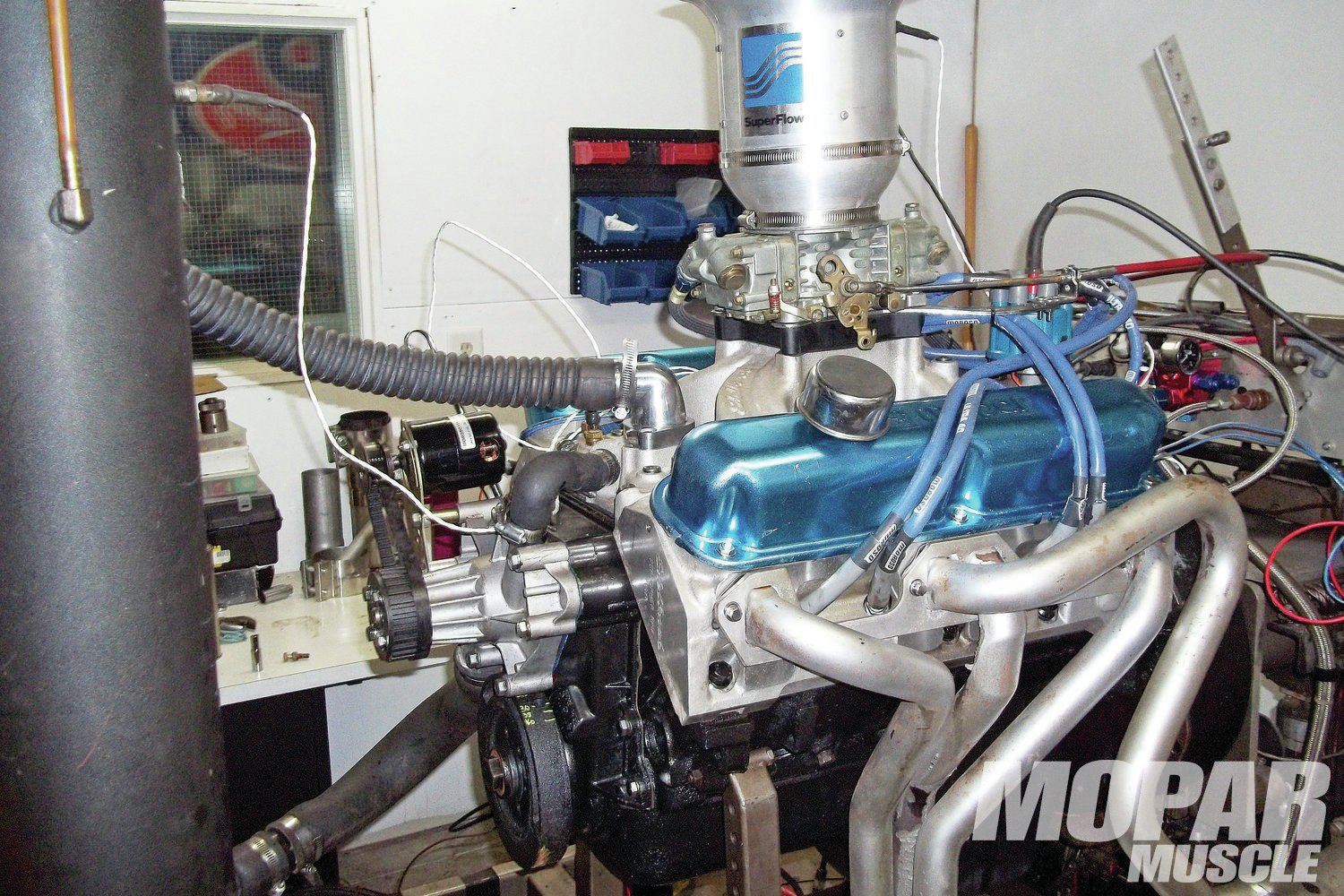 3. After a thorough break-in procedure on the Superflow dyno, we put the 360 through jetting and timing loops to get the tune correct. With 34 degrees of total timing being optimum, and the jetting in our 670 Holley needing only a slight increase in jets to be perfect with the local 87-Octane pump gas.