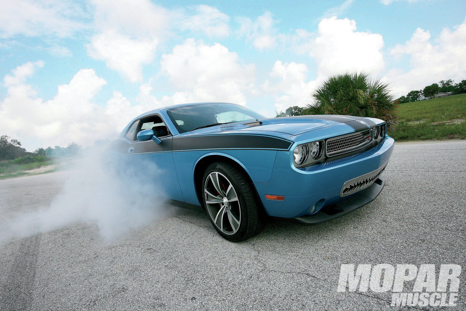 Burnout: 6.1 Hemi + 9 pounds of boost = 560 rwhp, giving plenty of Pirelli-flavored tire smoke.