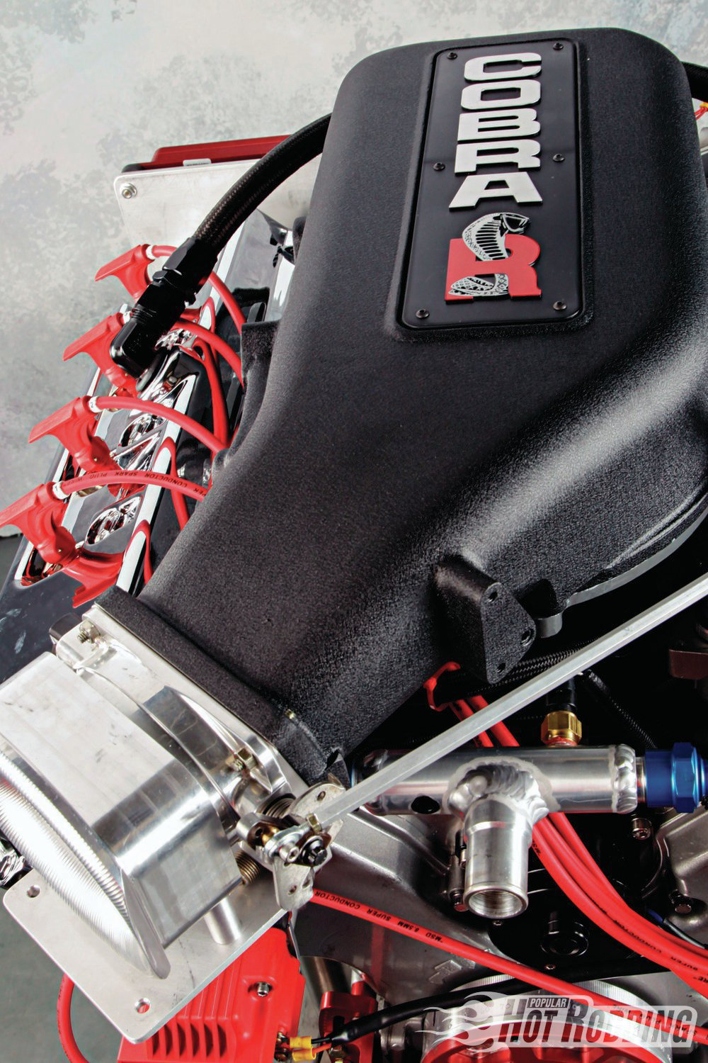 Delivering the airflow to the heads is a rare 2000 Cobra R intake manifold, which is a two-piece design incorporating a removable top plenum cover. The throttle body is a high-capacity unit from Accufab.