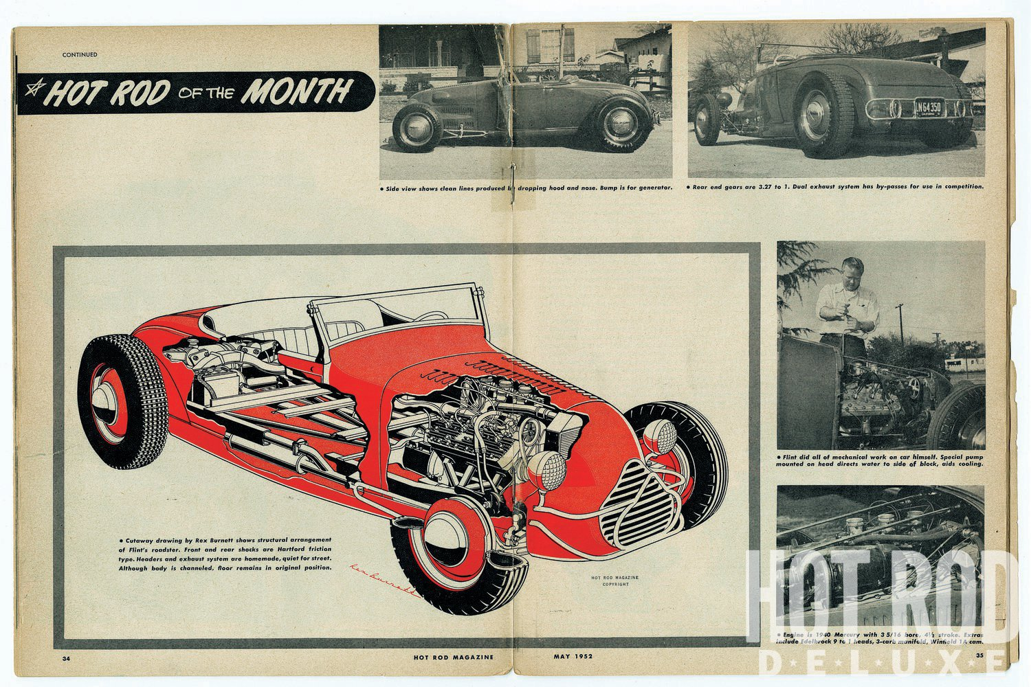 """Cutaway As """"Hot Rod of the Month,"""" Flint's roadster was treated to a Rex Burnett cutaway illustration. The caption points out, """"…front and rear shocks are Hartford friction type. Headers and exhaust system are homemade, quiet for the street. Although body is channeled, floor remains in original position."""""""