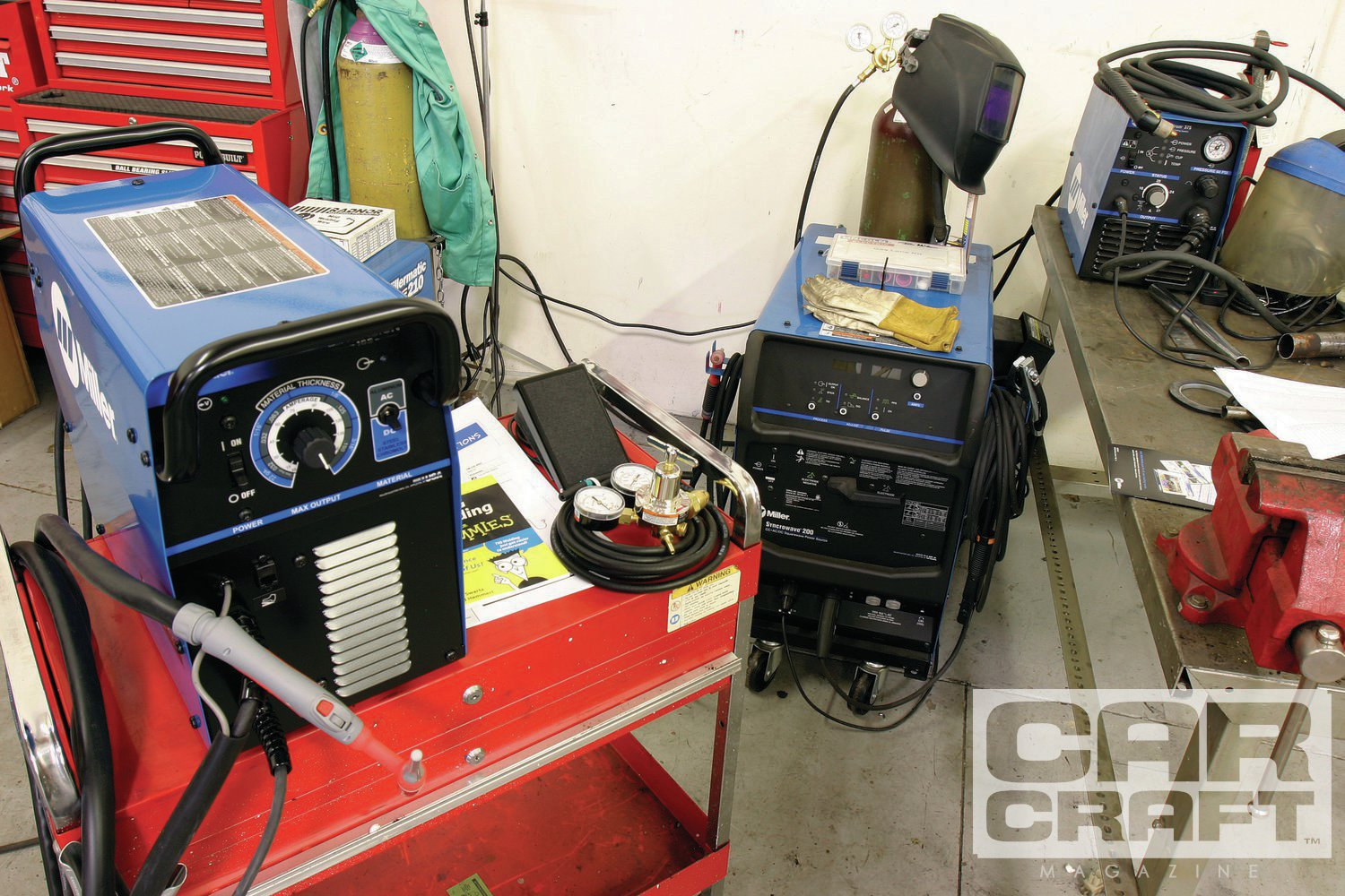 On the right is Miller's Syncrowave 200, predecessor to the new 210, flanked on the left by our new (at the time) Diversion 165, Miller's much smaller, entry-level TIG machine. Miller Diversion series are inverter-based welders.