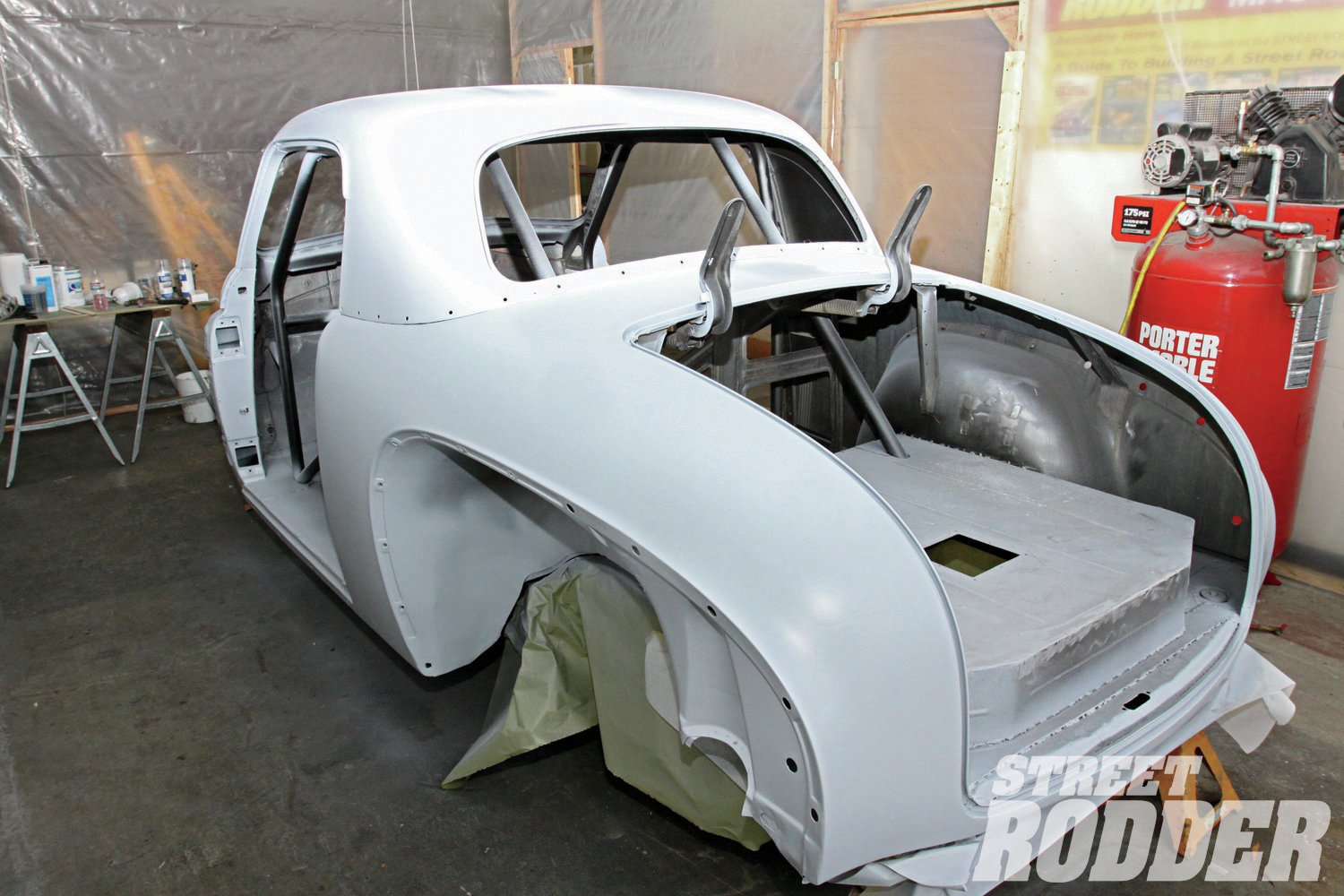 1. After a thorough sanding, Jake Brazille shot the bare body of our Plymouth with PPG's DP90LF epoxy primer, followed by two coats of their D839 Primer Surfacer to build the surface for block sanding.