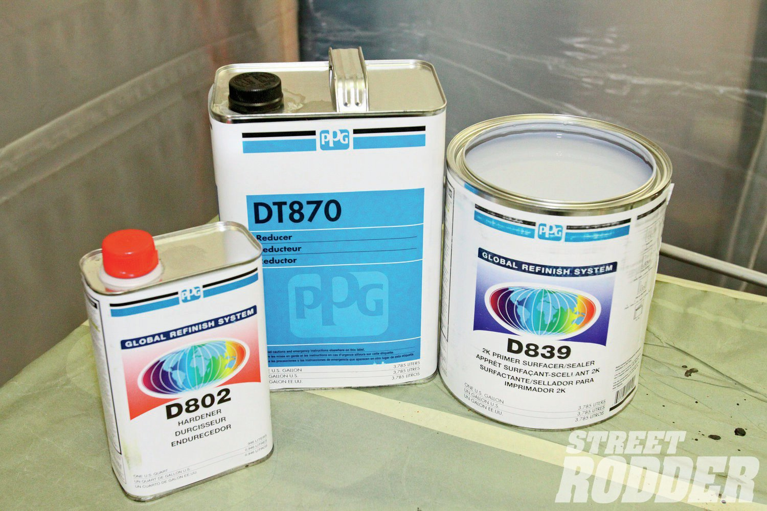 11. To provide the film thickness necessary for block sanding we chose PPG's D839 Primer Surfacer. It's combined with D802 hardener and DT870 reducer.