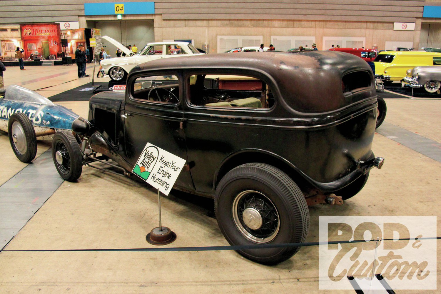 Rod & Custom Magazine Pick: Takuro Yoneuchi/Valley Auto '34 Ford Tudor. Trophy by Dennis McPhail; lettering by Wildman (pictured).