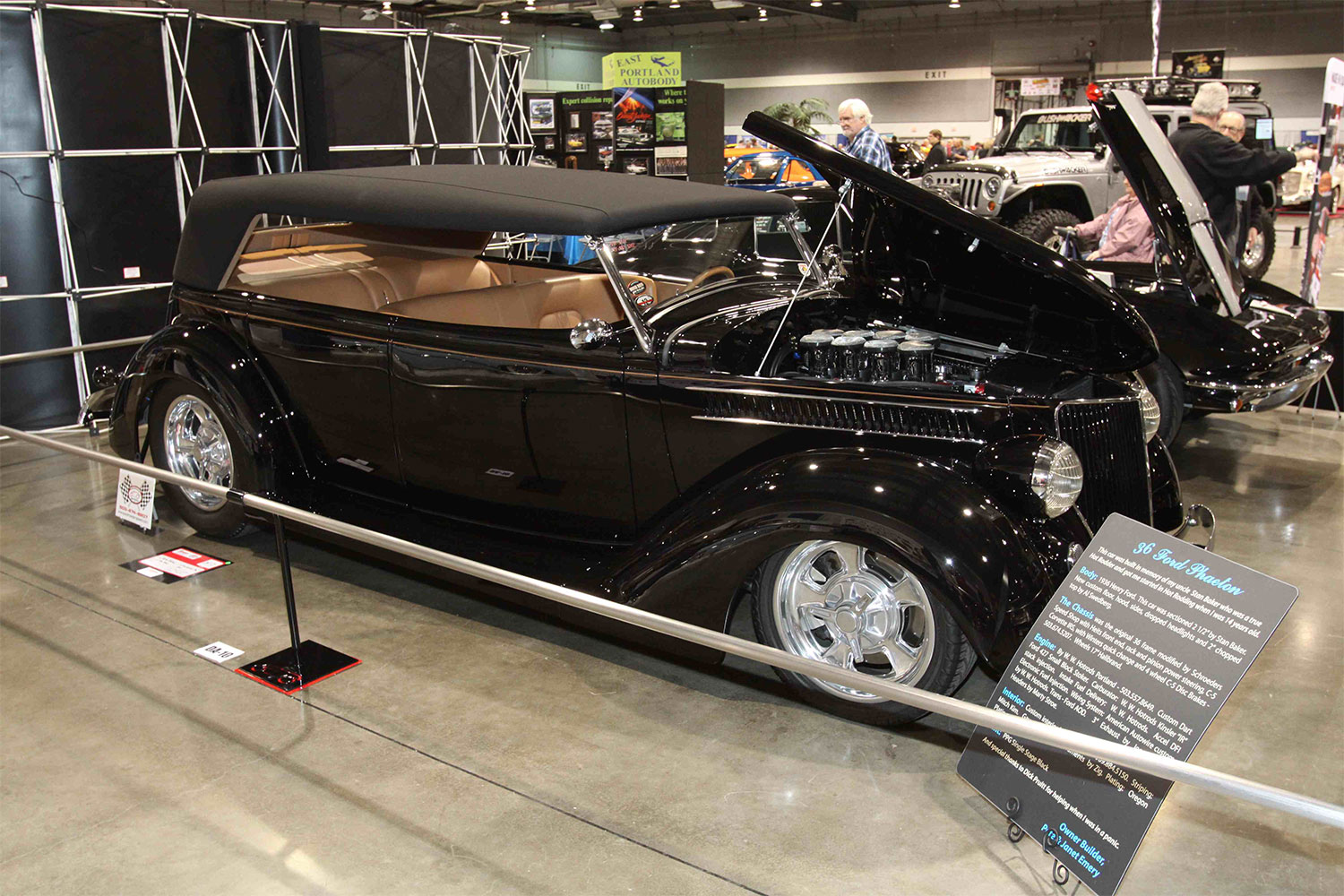 Pete & Janet Emery built this '36 as a tribute to Stan Baker, who originally sectioned the tub 2-1/2 inches. C5 Corvette suspension is used at all four corners along with Halibrand wheels. Power comes from a 427-inch small.