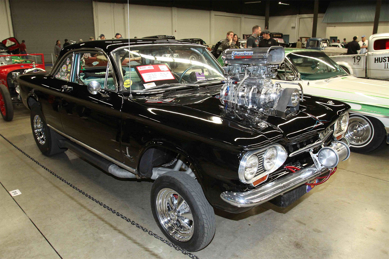 One of the more unusual cars in the Gasser class was Steve Canton' 1963 Corvair with a blown 383 Chevy in what was once the trunk.