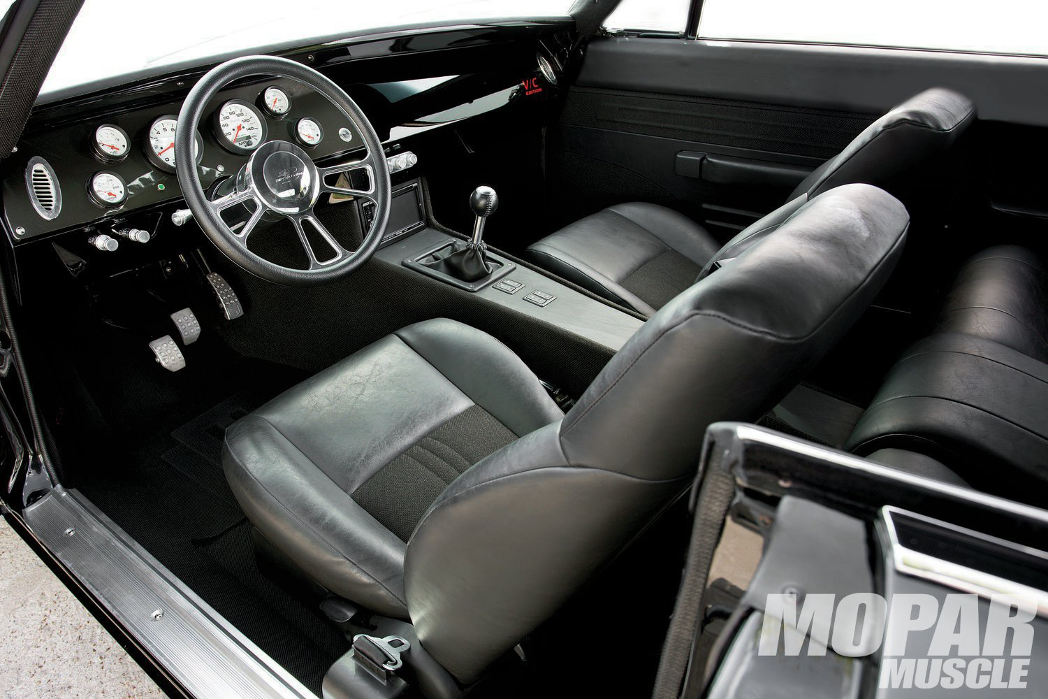 Interior: More special than a Special Edition's, the cabin boasts plenty of custom touches, including the console over the Tremec T-56 six-speed.