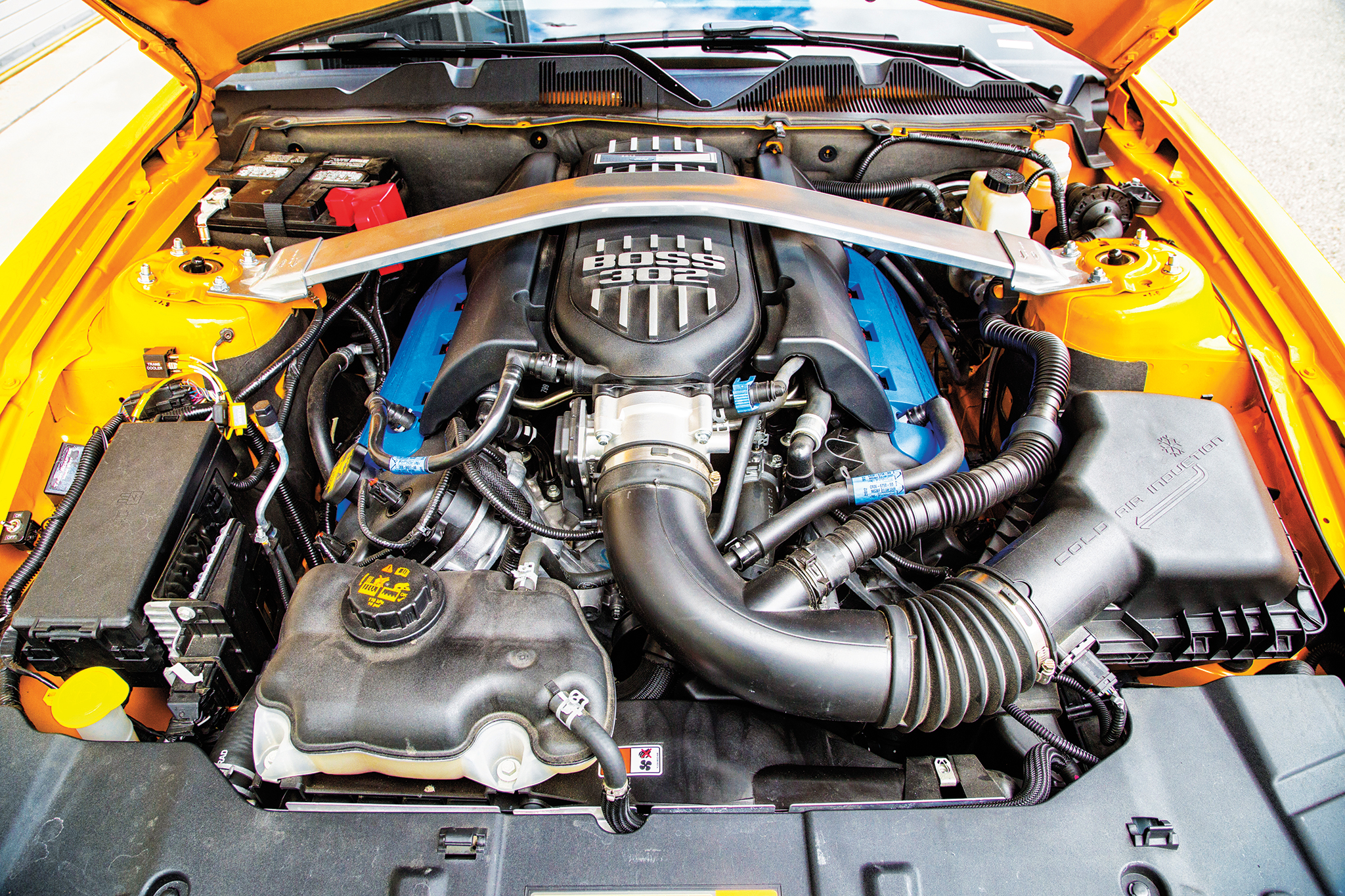The '13 Boss 302 is a 5.0L V8, rated at 444 hp. Owner Jack Goldey hasn't modified it…yet.