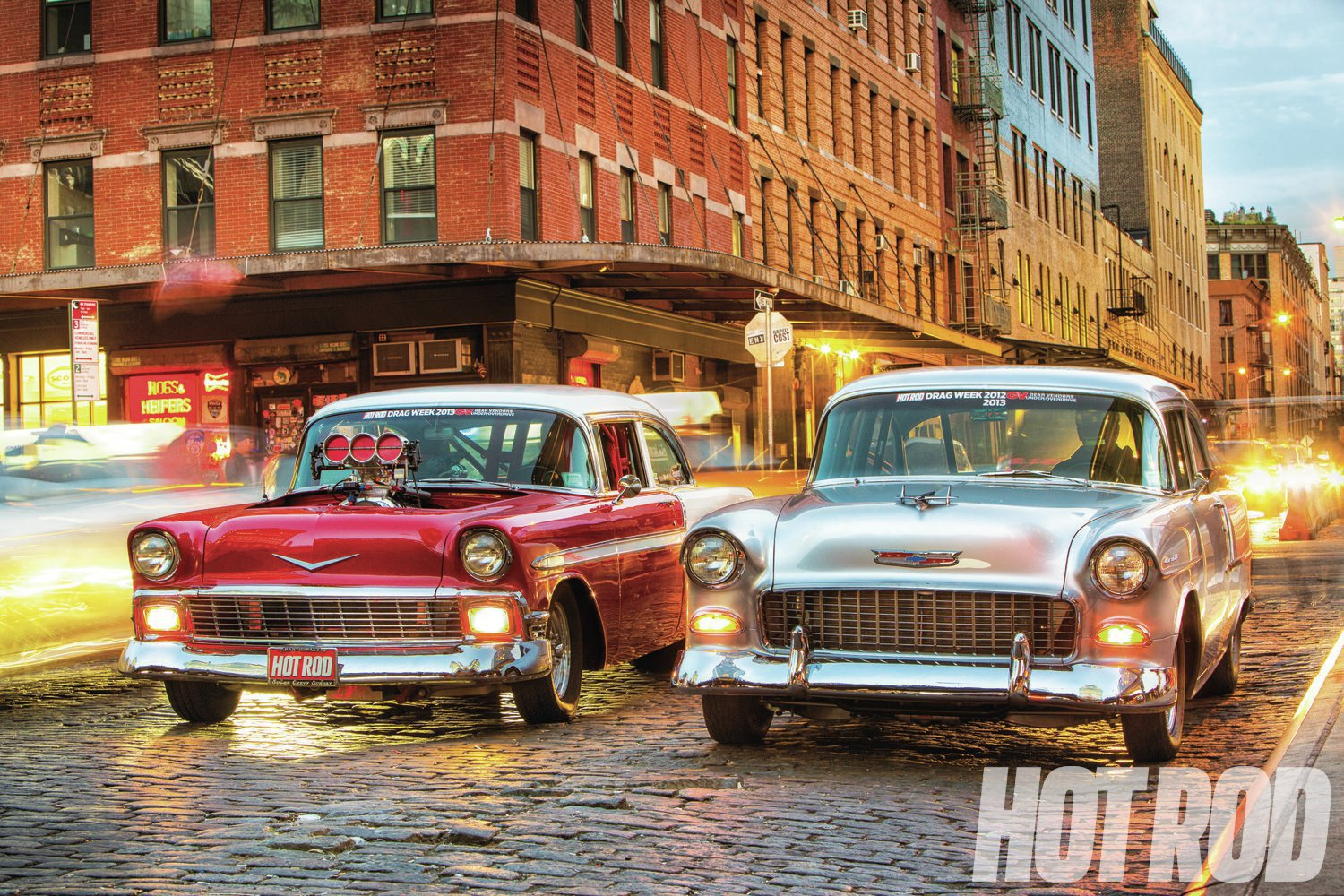 "New Yorkers are notoriously hard to impress, but the sight of two shoebox Chevys rolling through town was enough to make even the most jaded city slicker take note. We heard later from a friend of Glenn's that the evening train back to Long Island was full of people buzzing about ""those two hot rods on Broadway."""