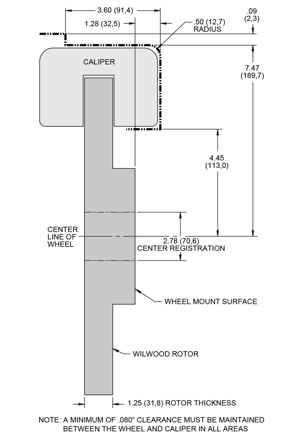 To aide in wheel selection, this diagram from Wilwood gives the dimensions of the 140-8921 brake kit.