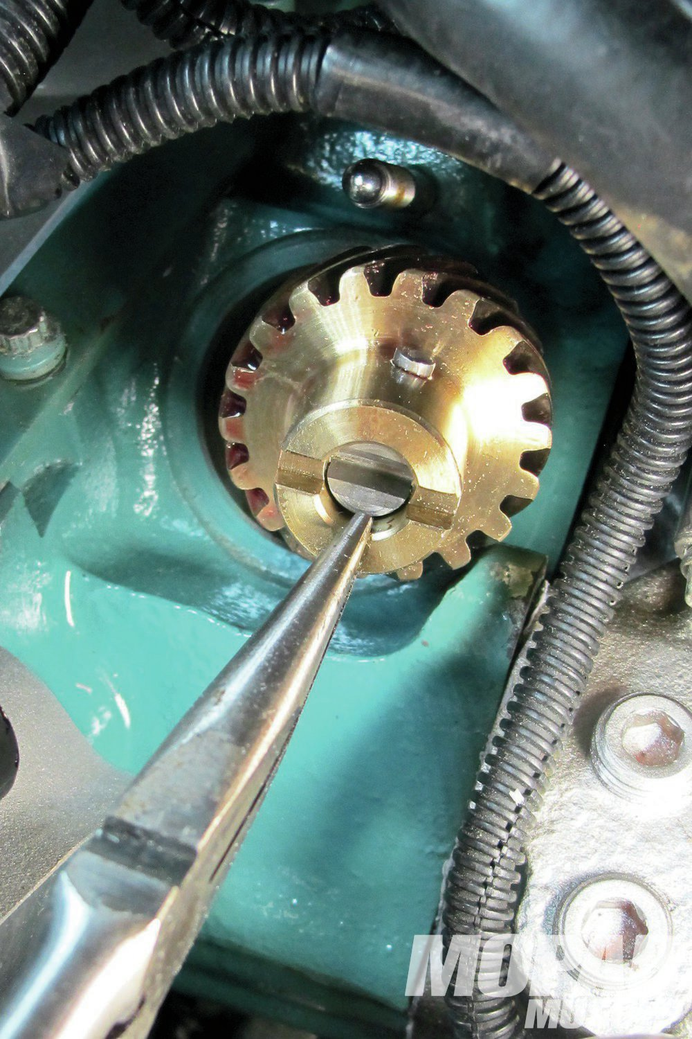 10 When changing over to a roller cam, it is the necessary to use a bronze cam/distributor gear for the oil pump shaft. We used the Milodon bronze distributor gear/shaft assembly. Be sure to check for wear after a few thousand miles. We routinely replace after 5,000-miles. Hopefully, soon, someone will offer a composite-type gear that will last for many more miles.