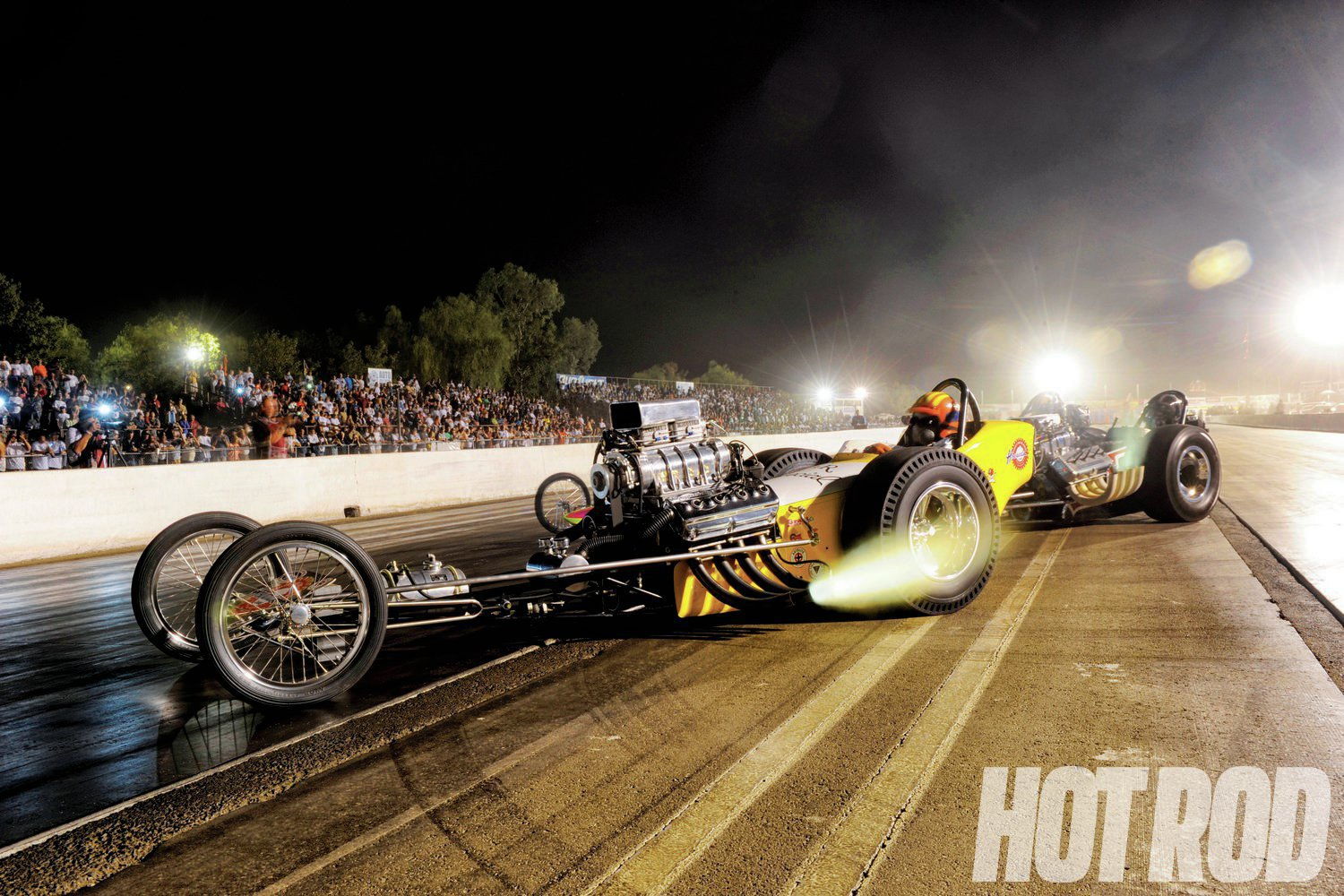 As the sun went down, the Cacklefest dragsters lit up the night.
