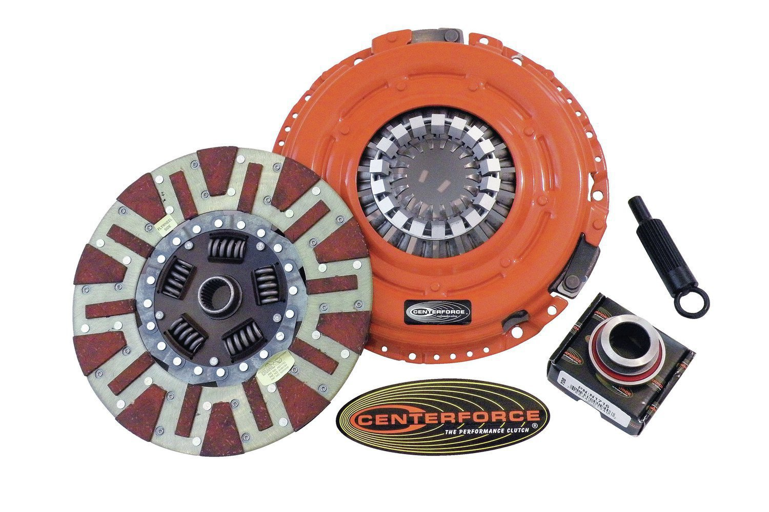 1. These are all the new parts you need to make driving your manual-shift muscle Pontiac a pleasure—the Dual Friction pressure plate and disc, along with the self-centering throwout bearing and alignment tool.