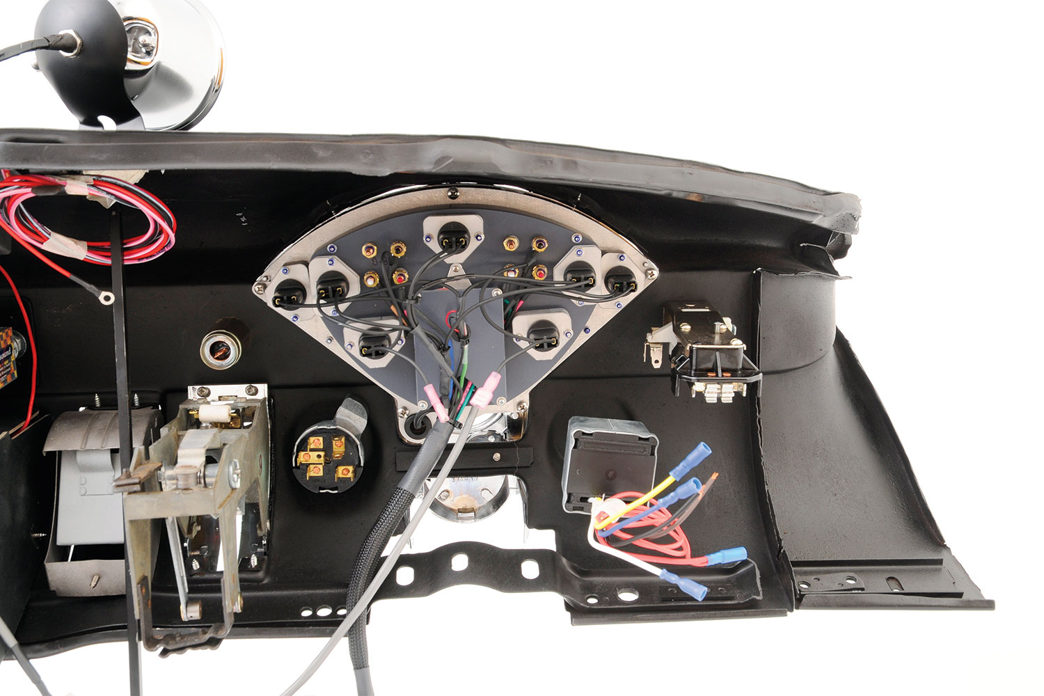 From the back side we can see the amazing quality and attention to detail that goes into the Classic Instruments gauge cluster. Once again notice how clean and simple the wiring will be with mostly plug-in components.