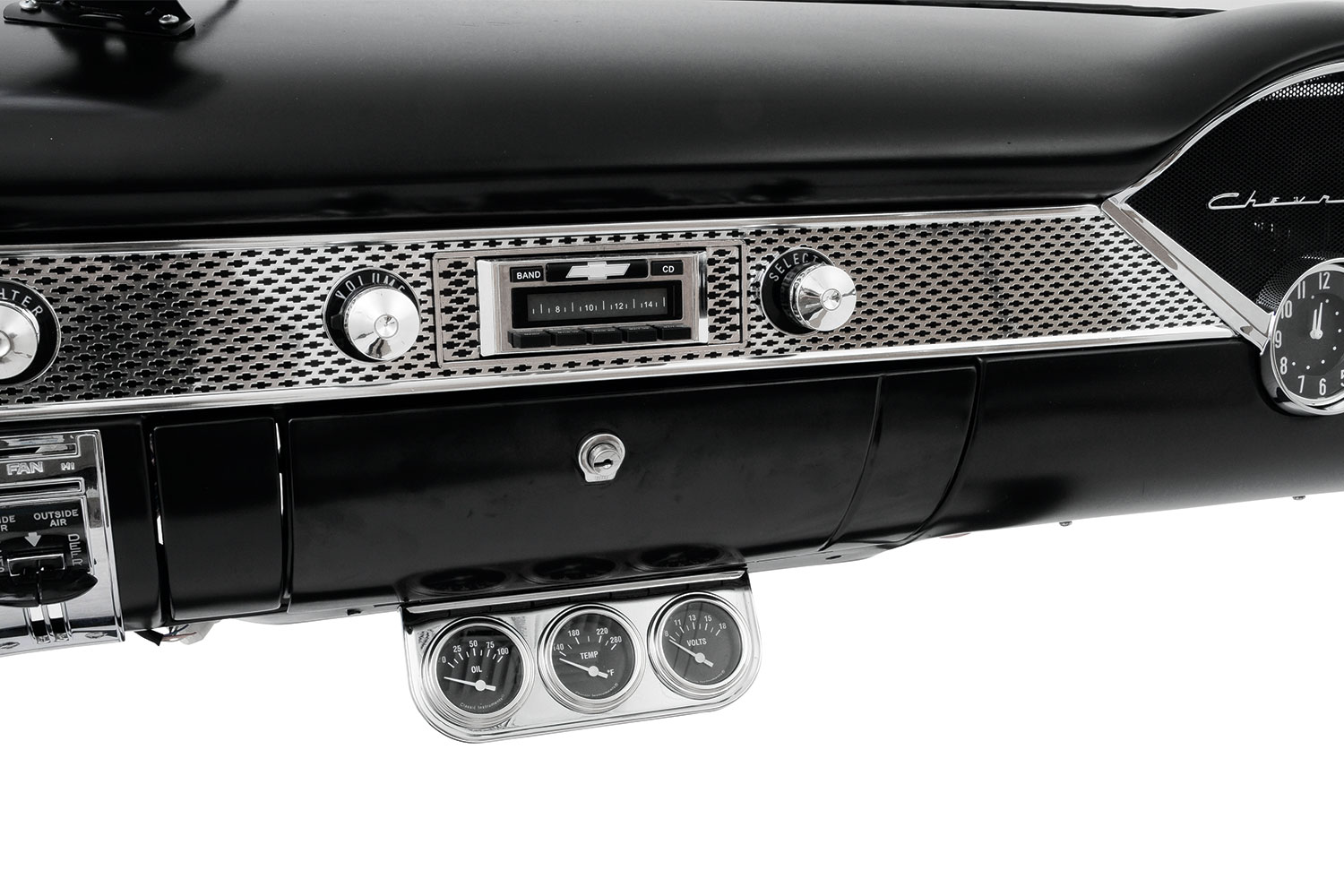 And here's the center of the dash all completed. From the brand-new glovebox to cool Custom Autosound radio and Classic Instruments gauges, this looks like the perfect period-correct '55 dashboard.