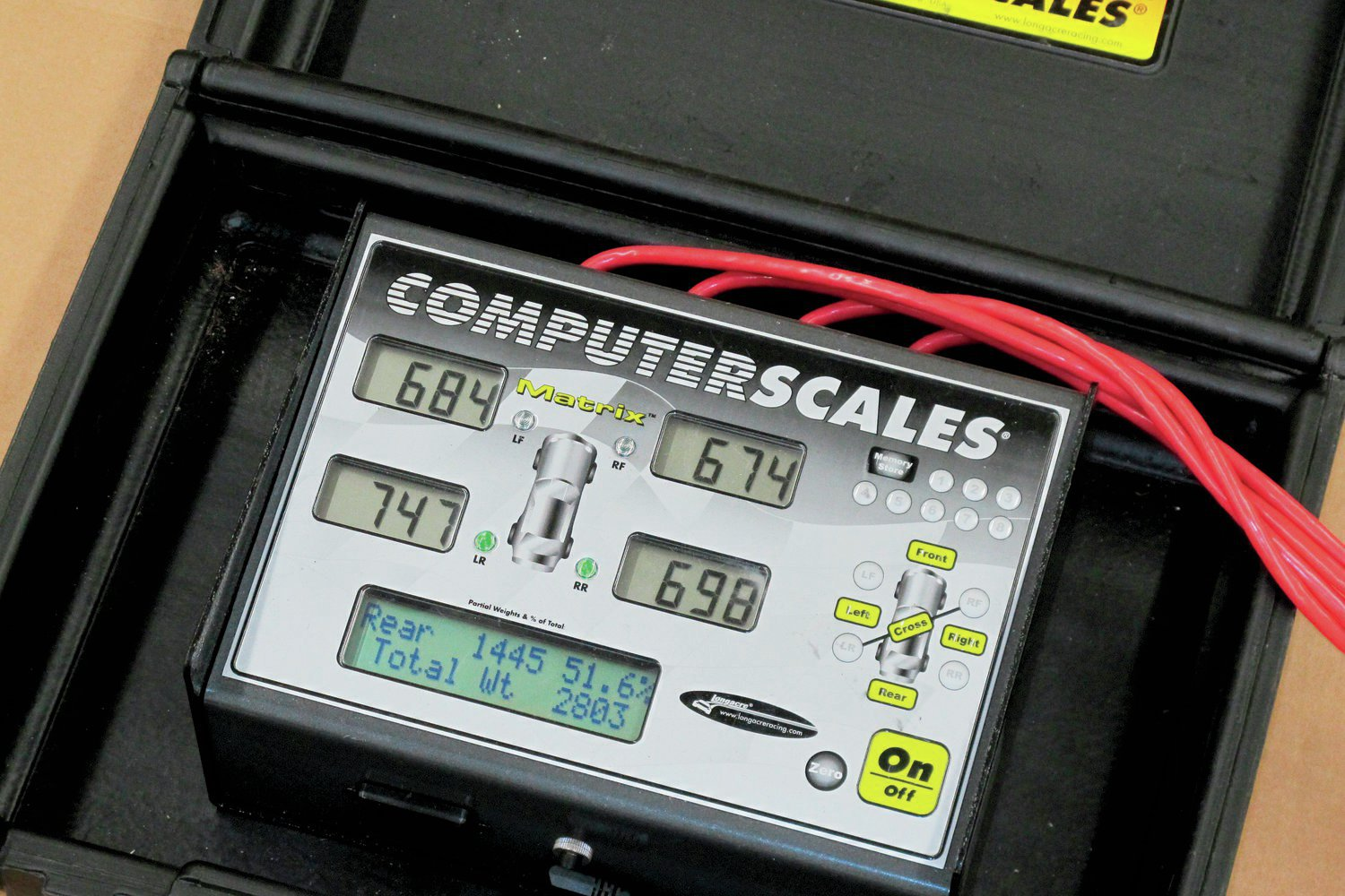 Individual electronic scales were used at each wheel of our subject Chevrolet. The 2,800-pound coupe was reasonable and well balanced.