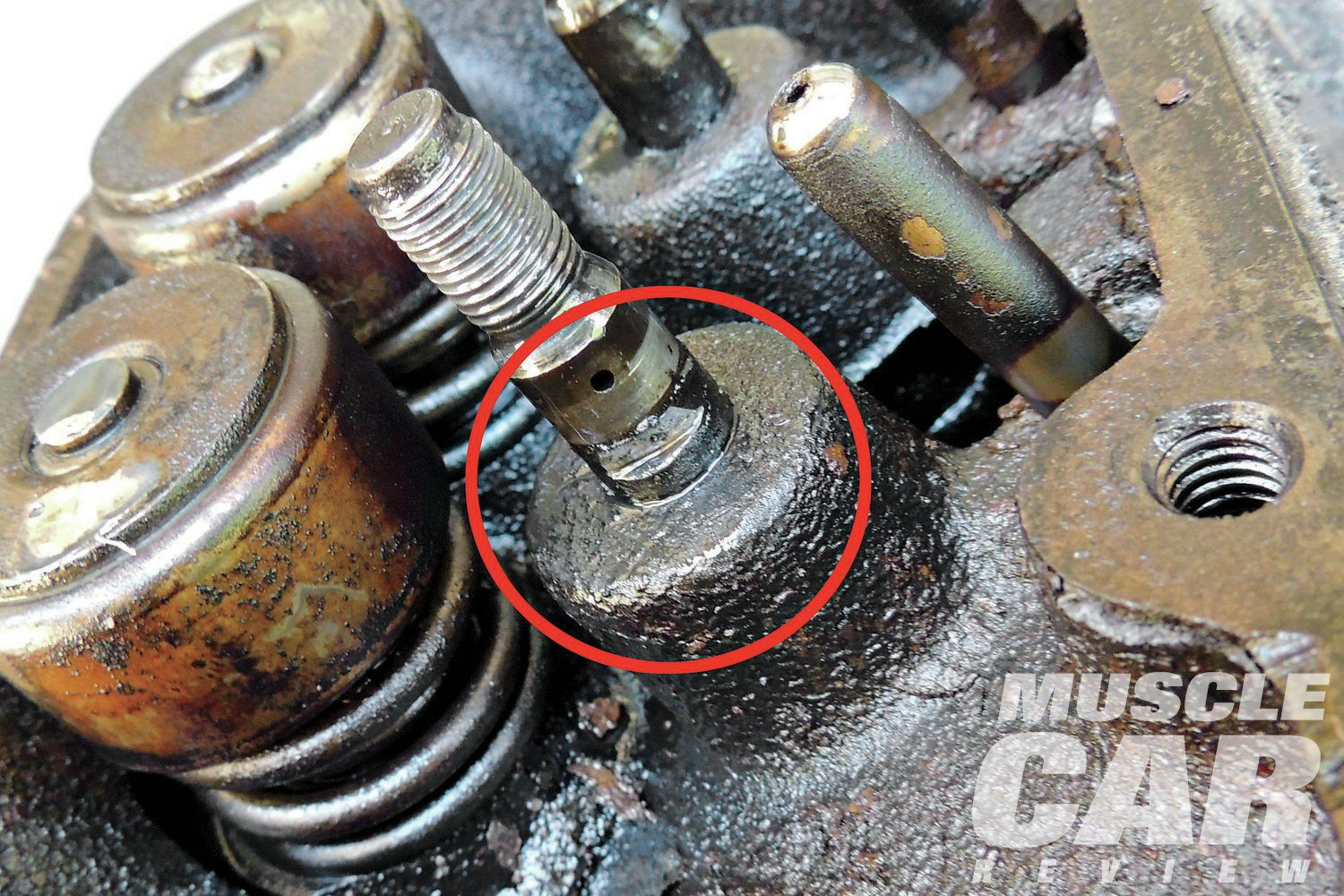 As we removed the rocker arms we could see that a few of the studs had some unusual wear patterns--another red flag for us to pay attention to any other potential valvetrain issues.